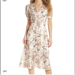 Gal Meets Glam Bontanical Print Midi Dress